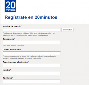 Registrate 20 minutos